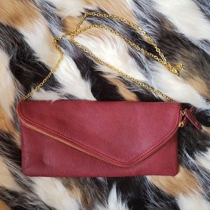 Crossbody/Clutch Shoulder purse - Red, Gold Chain